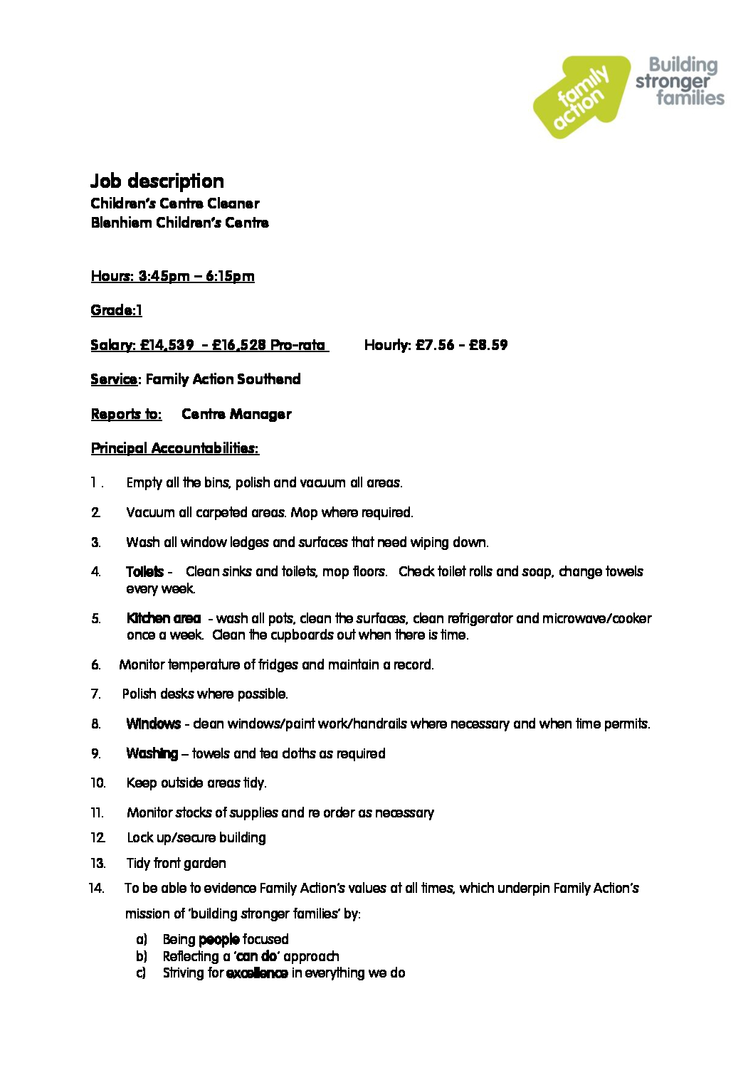 c job description and person specification cleanerjpg. Resume Example. Resume CV Cover Letter